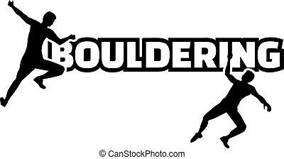 bouldering, mot, à, silhouette