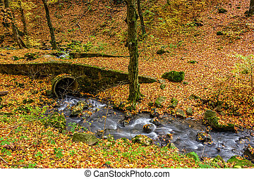 boulders and bridge near forest creek in autumn - boulders...