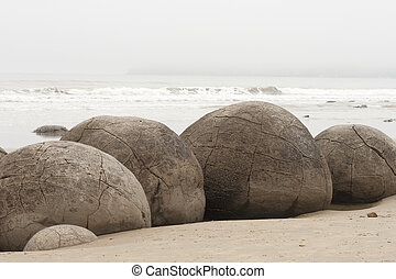 Boulders at moeraki in New Zealand