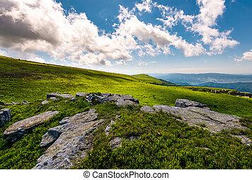 boulders on a grassy hillside in summer. beautiful...