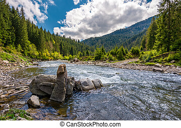 boulders on cascade of the forest river. beautiful landscape...