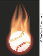 boule base-ball, à, flamme