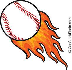 boule base-ball, dans, brûler