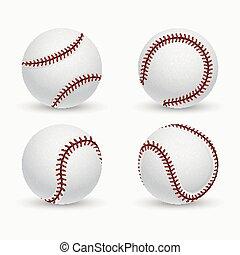 boule base-ball, softball, équipement, vecteur, icônes