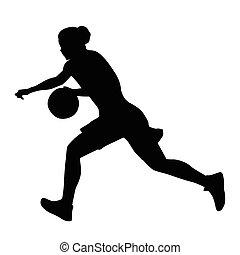 boule basket-ball, courant, girl, joueur, femme