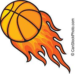 boule basket-ball, dans, brûler