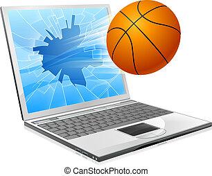 boule basket-ball, ordinateur portable, concept