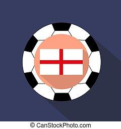 boule bleue, angleterre, arrière-plan., drapeau, football