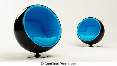 boule bleue, chaises, moderne, deux, cocon