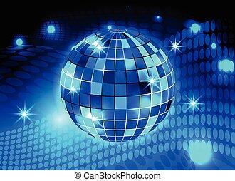 boule bleue, disco allume, fond, nuit, fête