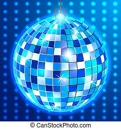 boule bleue, fond, disco