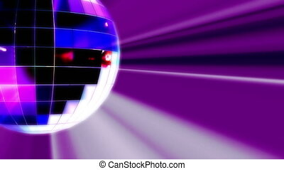 boule bleue, lumière, disco, tourner, rayons