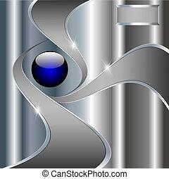boule bleue, résumé, métallique, fond, technologie