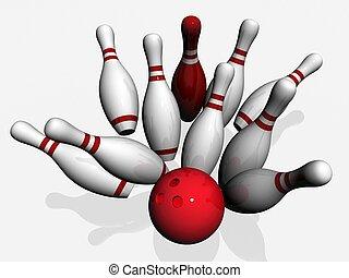boule bowling, briser, dans, les, epingles