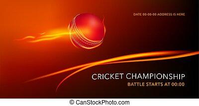 boule cricket, tournament., texte, illustration, vecteur, gabarit, jouer