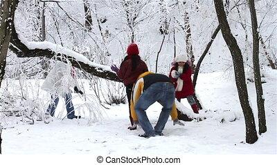 boule de neige, avoir, famille, baston