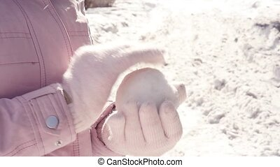 boule de neige, femme, gants, jeune, sculpts