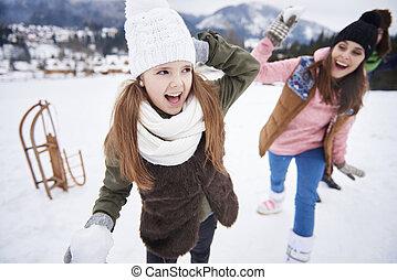 boule de neige, hiver, famille, baston