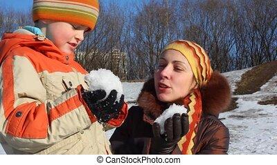 boule de neige, mère, fils
