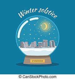 boule de neige, vecteur, stonehenge., solstice, hiver, 21., illustration, décembre