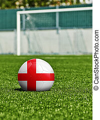 boule football, à, angleterre, drapeau, herbe, dans, stade