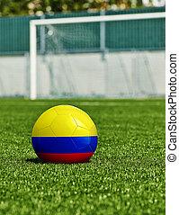 boule football, à, colombie, drapeau, herbe, dans, stade