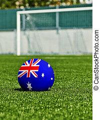 boule football, à, drapeau australie, herbe, dans, stade