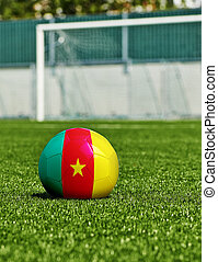 boule football, à, drapeau camerounais, herbe, dans, stade