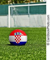 boule football, à, drapeau croatie, herbe, dans, stade