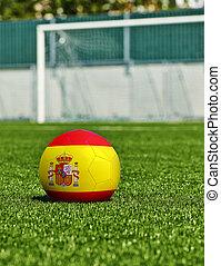 boule football, à, drapeau espagne, herbe, dans, stade