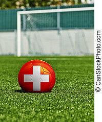 boule football, à, drapeau français, herbe, dans, stade