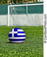 boule football, à, drapeau grèce, herbe, dans, stade