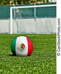 boule football, à, drapeau mexique, herbe, dans, stade