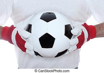 boule football, classique, mains