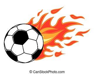 boule football, dans, brûler