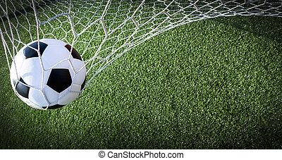 boule football, dans, but, reussite, concept