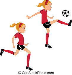 boule football, donner coup pied, 2, girl, poses