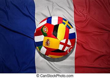 boule football, drapeaux européens, pays, célèbre, drapeau, national, france.