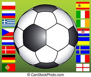 boule football, drapeaux, fond
