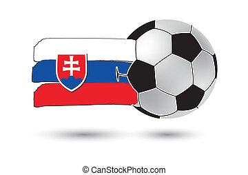 boule football, et, drapeau slovaquie, à, coloré, main, dessiné, lignes