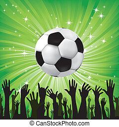 boule football, football, silhouettes, ventilateur, mains, sport