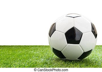 boule football, isolé, artificiel, fond, blanc, herbe