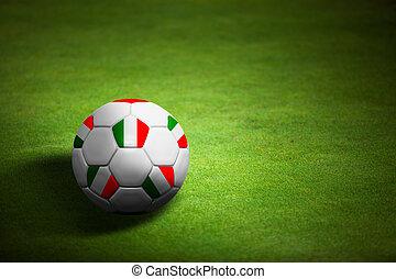 boule football, italie, sur, -, drapeau, championnat, euro, fond, herbe, 2012