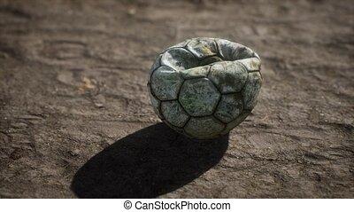 boule football, plancher ciment, vieux