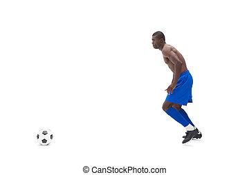 boule football, sans chemise, joueur, en mouvement