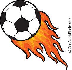 boule football, (soccer), dans, brûler