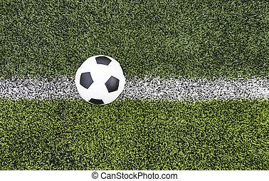 boule football, sur, les, champ vert