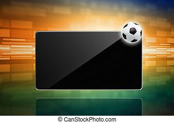 boule football, tablette, informatique