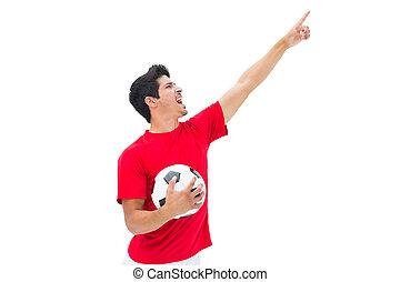 boule football, tenue, joueur, pointage, rouges