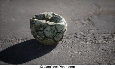 boule football, vieux, plancher, ciment